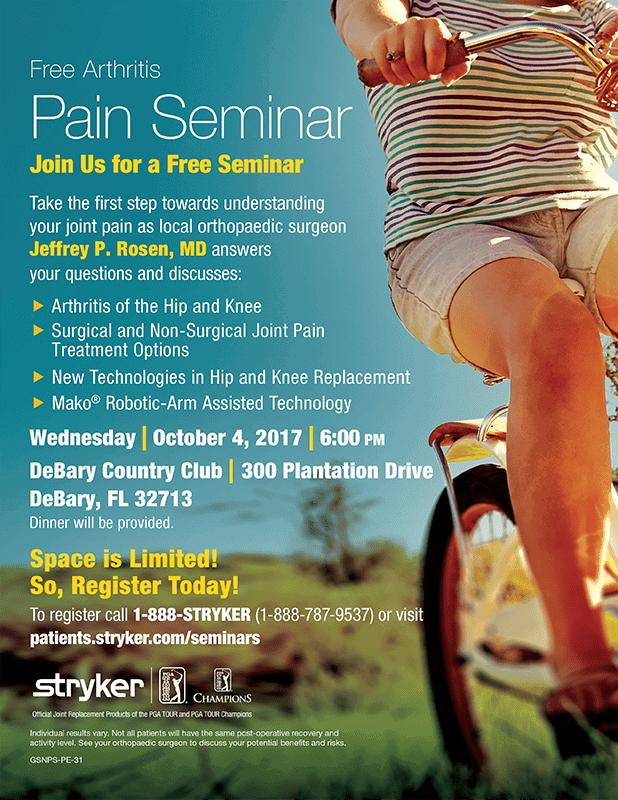 Free Arthritis Pain Seminar