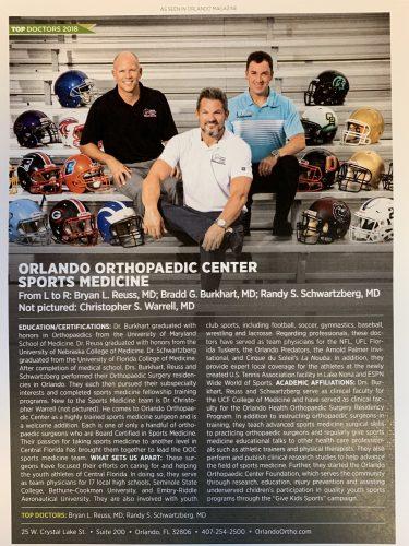 Sports Medicine OOC Reuss Burkhart Schwartzberg Orlando Magazine 2018